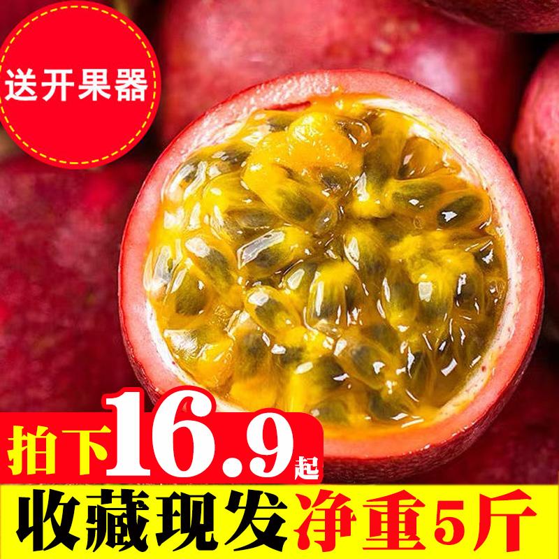 现摘百香果5斤包邮新鲜广西当季黄金水果特级白大果红果西番莲果