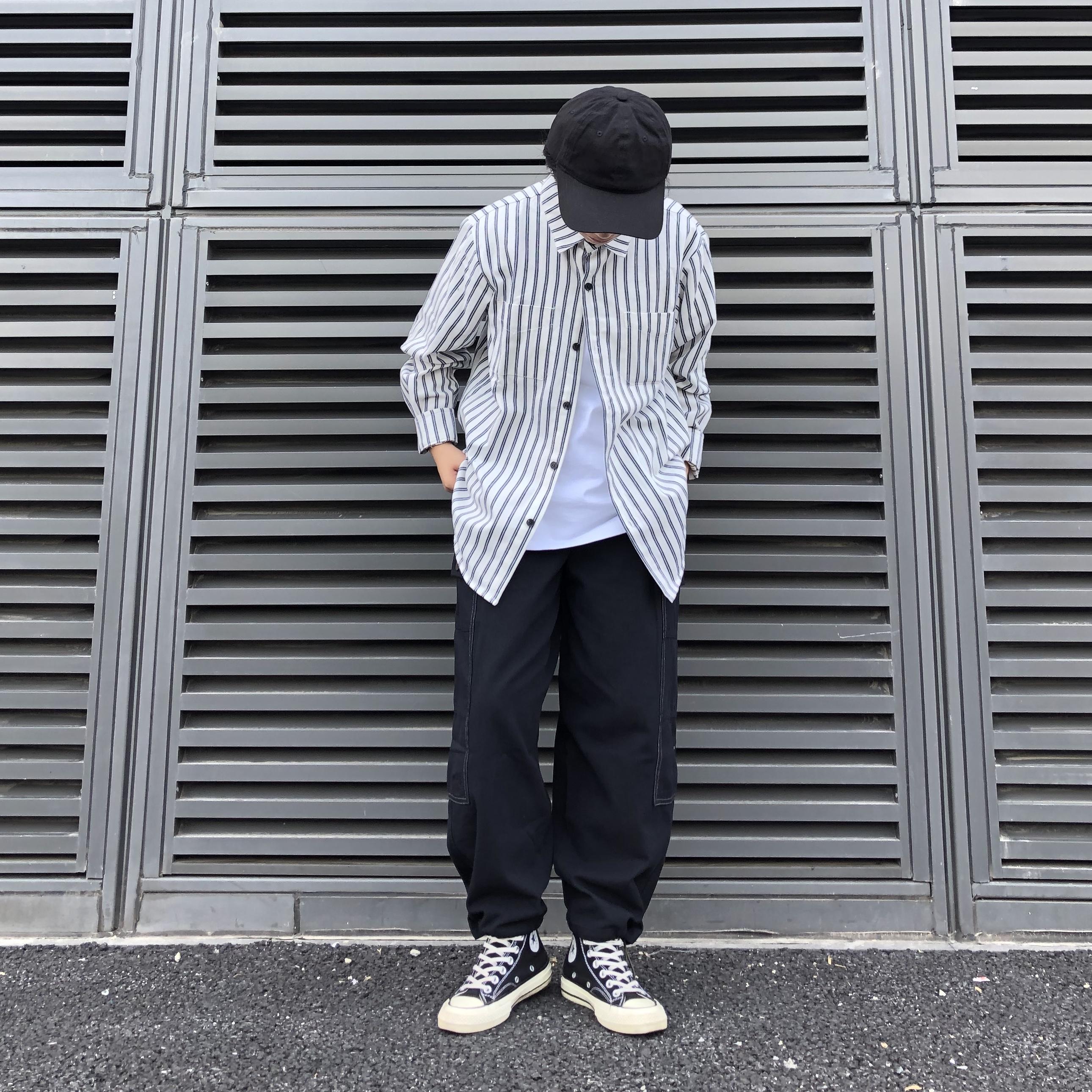 日系宽松百搭竖条纹衬衣简约纯色长袖衬衫上衣外套内搭男女同款券后120.00元