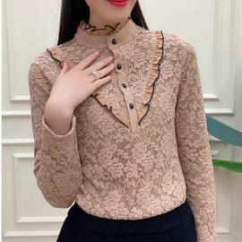 时尚中年女装打底衫秋冬新款加绒加厚蕾丝小衫妈妈装洋气T恤上衣