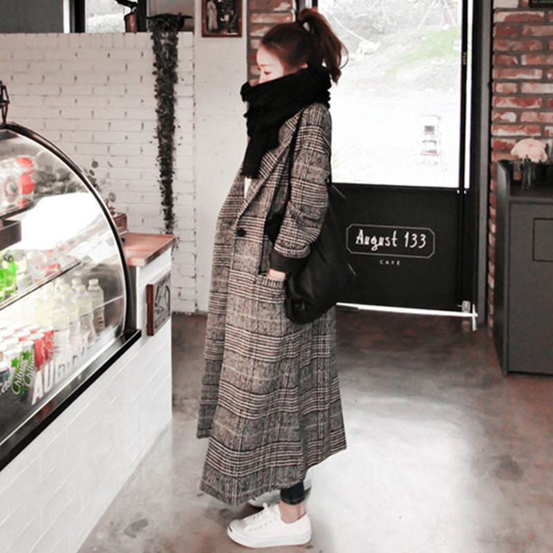 2018冬季新款韩版格子中长款毛呢外套冬千鸟格呢子大衣212