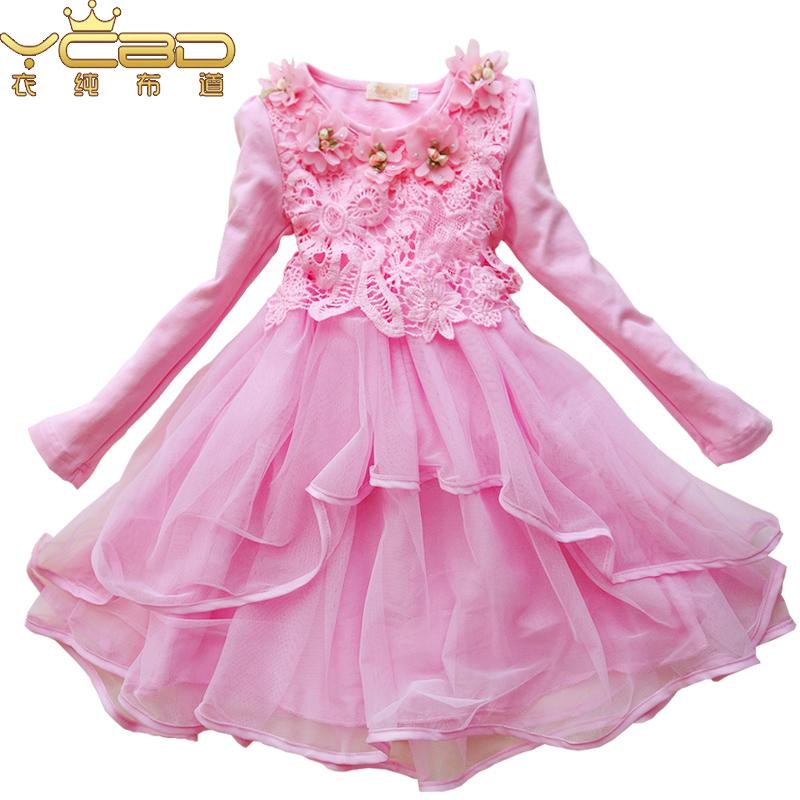 衣純布道品牌 女童連衣裙秋裝長袖蕾絲中大兒童公主裙蓬蓬裙子