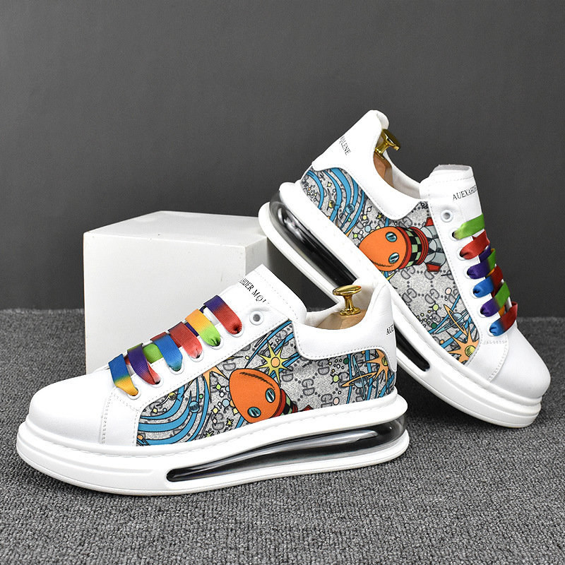 2021 spring and winter low top breathable trend Korean leather personalized printing casual board shoes ins mens shoes