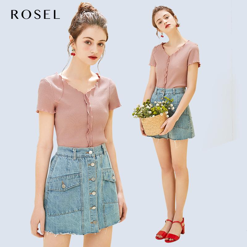 ROSEL2019夏季新款韩版短袖t恤女百搭修身短款纯色v领休闲上衣潮