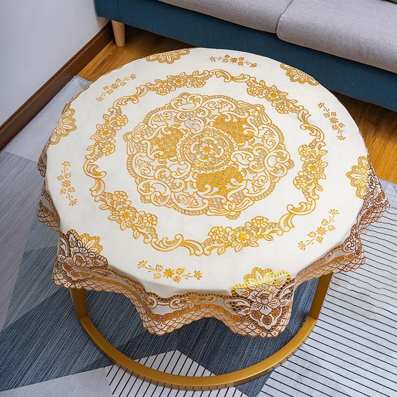 餐桌布圆桌圆形欧式烫金防水防烫免洗pvc桌垫塑料家用茶几台布罩