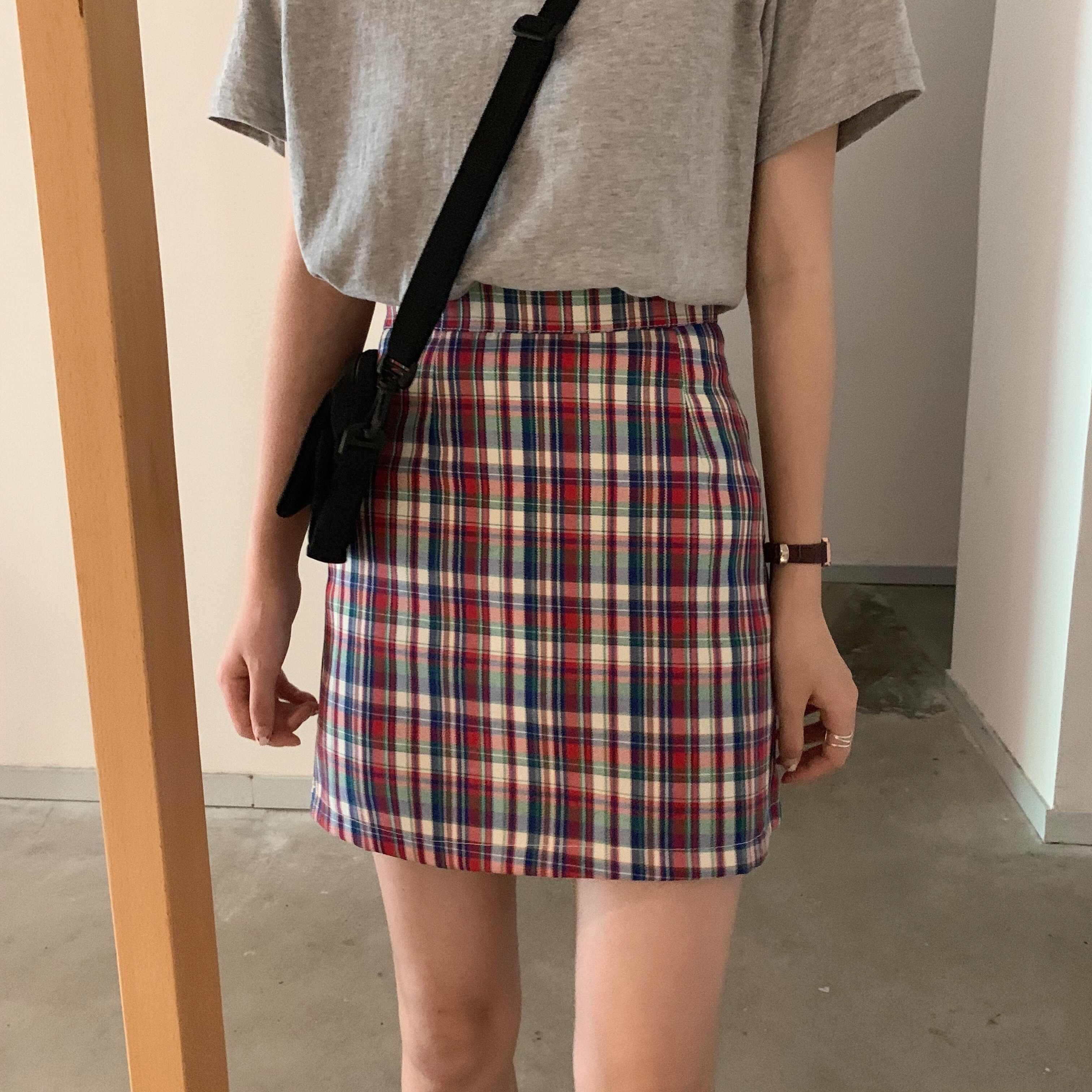 韩国复古半身拼色夏季格子裙短裙修身显瘦百搭高腰格子裙A字裙女