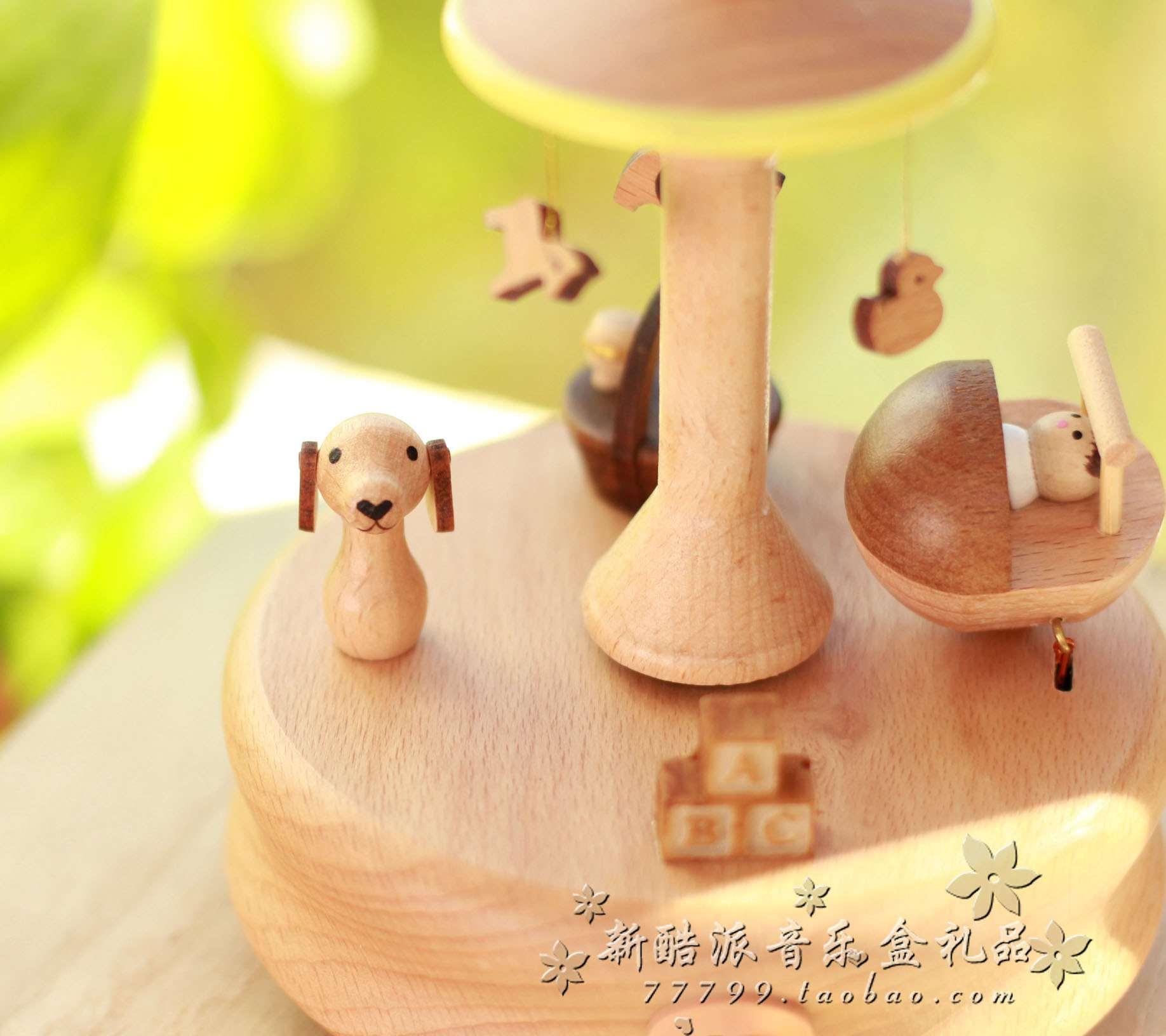音乐盒八音盒精品木质发条旋转摇摇床儿童男女生日圣诞情人节礼物