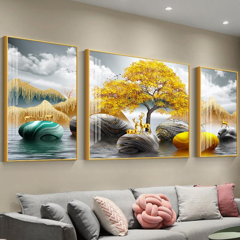 轻奢现代简约沙发背景墙客厅装饰画
