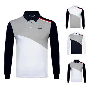 户外运动男士高尔夫服装秋款长袖Polo衫透气速干休闲golf衣服上衣