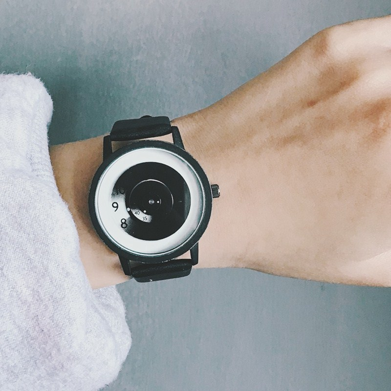 Extremely simple style Korean version simple trend black hole concept creative personality turntable male and female middle school students waterproof couple Watch