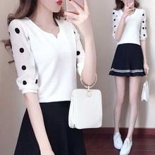 T恤超仙短袖 韩版 雪纺上衣女士衬衫 夏装 女中袖 2019新款 修身 雪纺衫