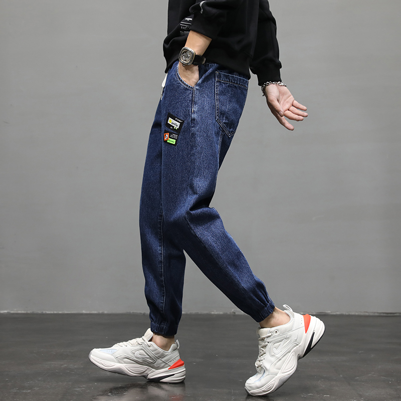 Autumn new Hong Kong Style Korean wide leg jeans mens loose straight tube students trend daddys pants