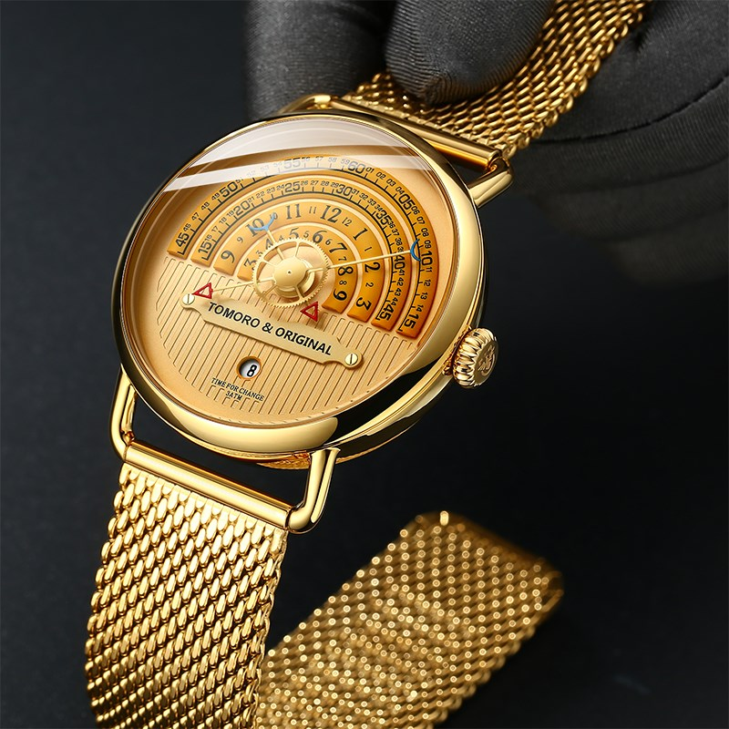 Swiss big dial gold watch male pure gold net red new concept black technology watch wormhole concept automatic non machine.