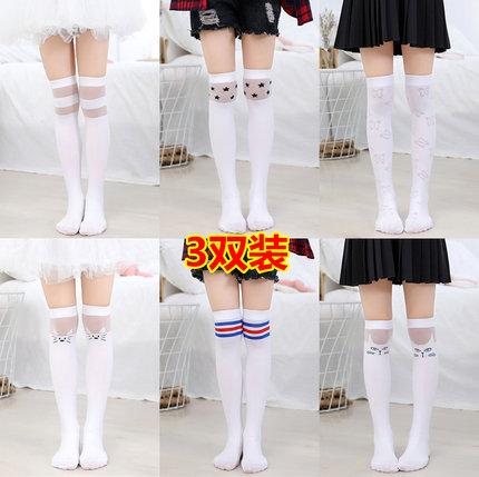 夏季薄款女童中筒袜过膝儿童长筒半截腿袜堆堆袜子高筒3-12岁宝宝