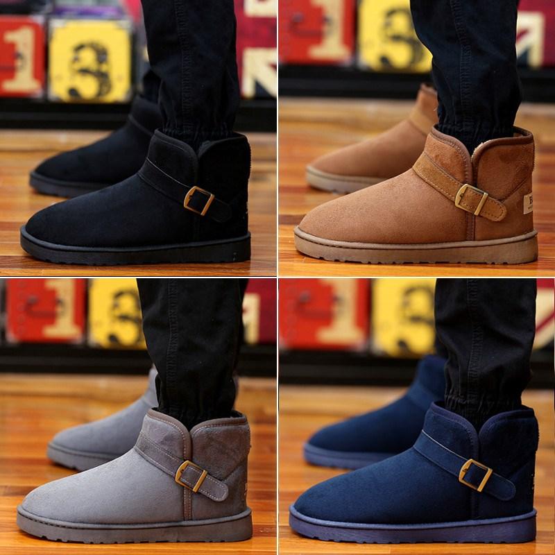 面包鞋雪地靴男低帮保暖鞋靴子男孩男款黑色时尚初中生简约高中生