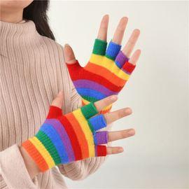 秋冬儿童手套韩版日系针织彩色拼接中童男女宝宝全指半指七彩学生