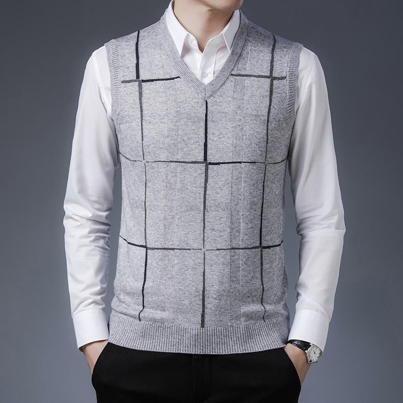 Top grade seven brand hot 2021 spring new mens sweater vest middle aged mens casual slim V-Neck Sweater