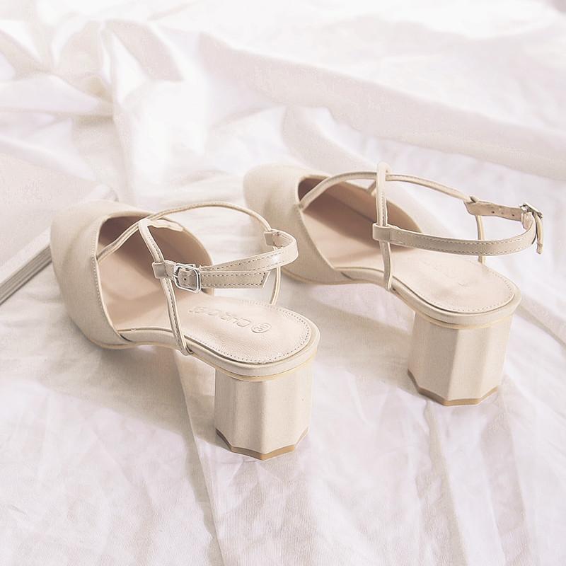2019新款夏季包头高跟凉鞋女仙女风粗跟方头后空单鞋中跟罗马凉鞋