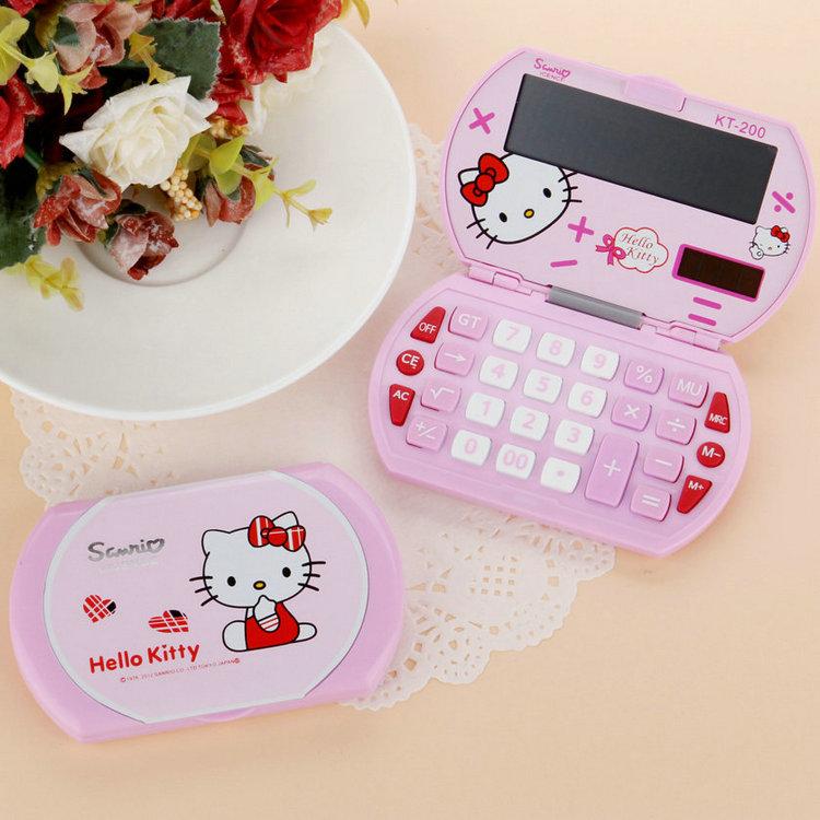 韩版折叠便携hello kitty折叠计算器 可携随带KT-200太阳能计算机