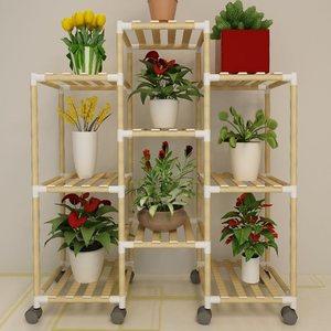 【住宅家具】简易组装多层实木花架客厅阳台室内多肉吊兰花盆架子