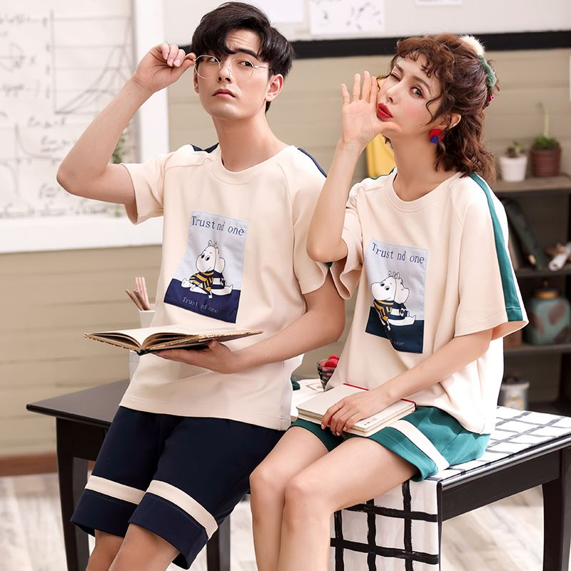 Couples pajamas summer short sleeve cotton suit mens and womens Summer Shorts pure cotton thin home clothes