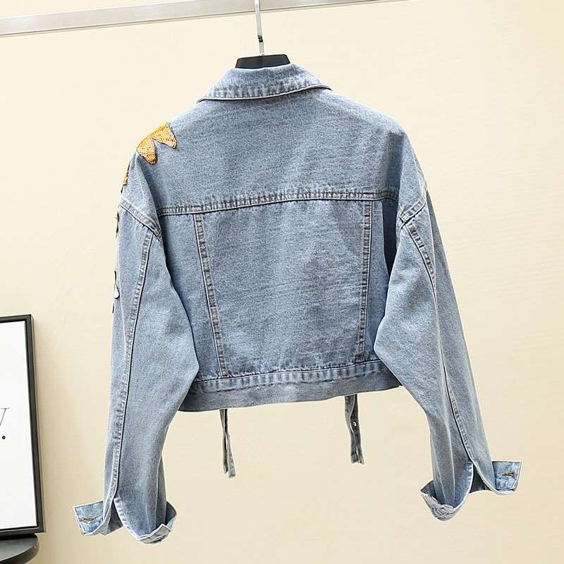 Early spring 2020 new heavy industry Sequin Flower Embroidery short handsome jacket jeans jacket womens fashion