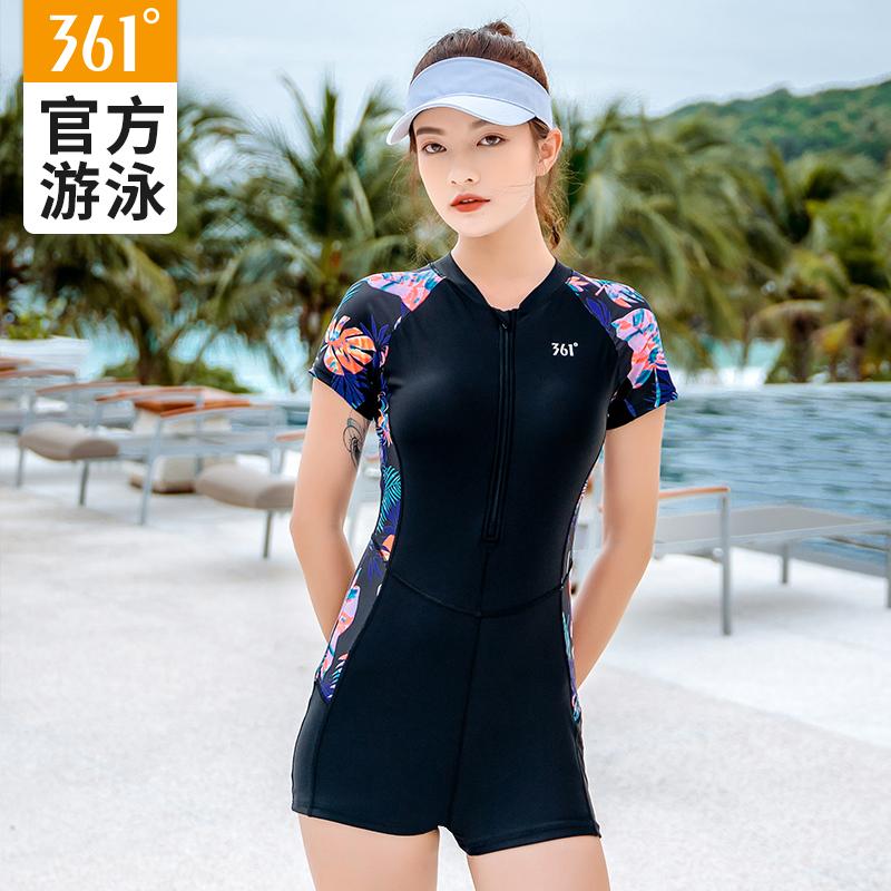 361连体泳衣女夏平角保守专业运动遮肚显瘦ins风2021新款温泉泳装