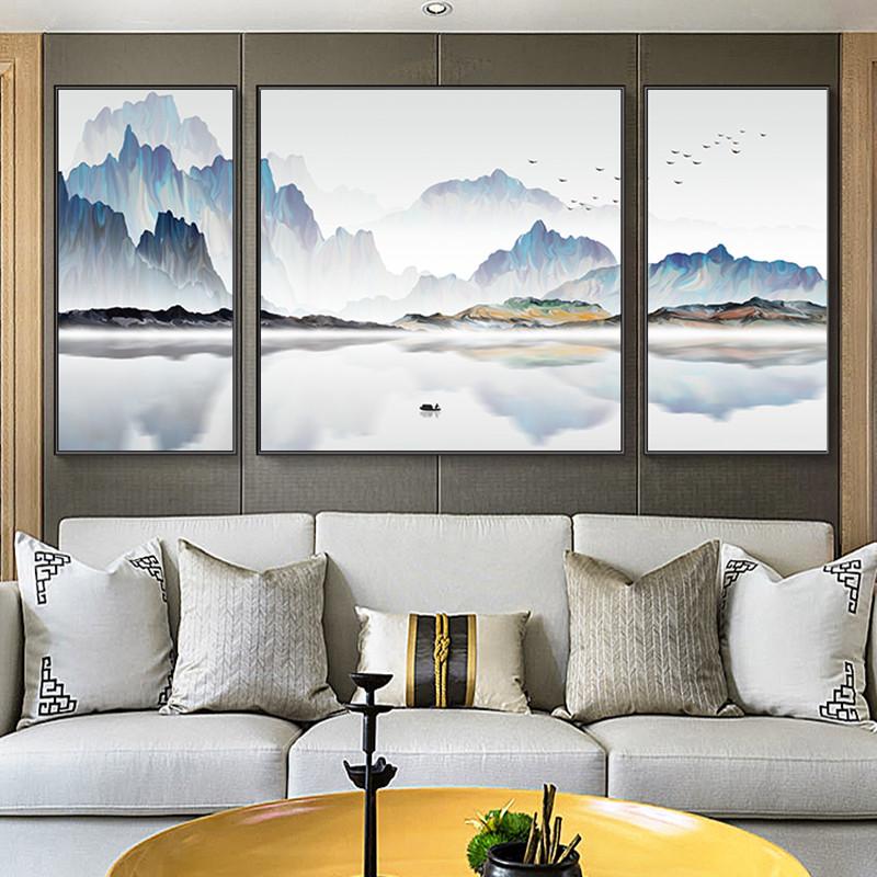 新中式客厅装饰画水墨招财大气山水挂画办公室风水靠山风景壁画