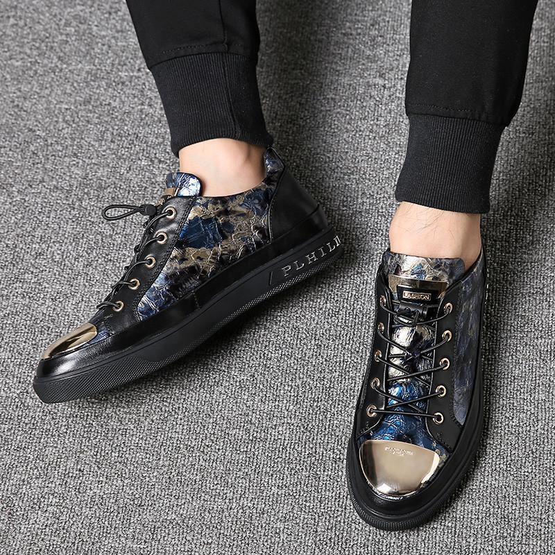 春秋季男鞋子韩版潮流休闲皮鞋板鞋百搭精神小伙英伦时尚潮鞋