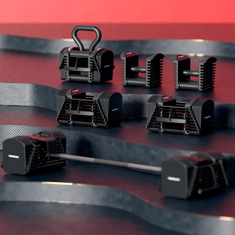 powerblock包胶哑铃可扩充90磅可调节男士健身家用美国抽屉式哑铃