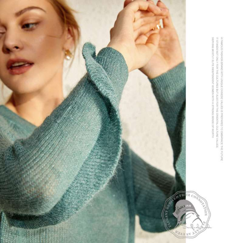 Age reduction fluffy simple V-neck Mohair long sleeve Pullover Sweater womens loose wooden ear side sleeve T-shirt B904