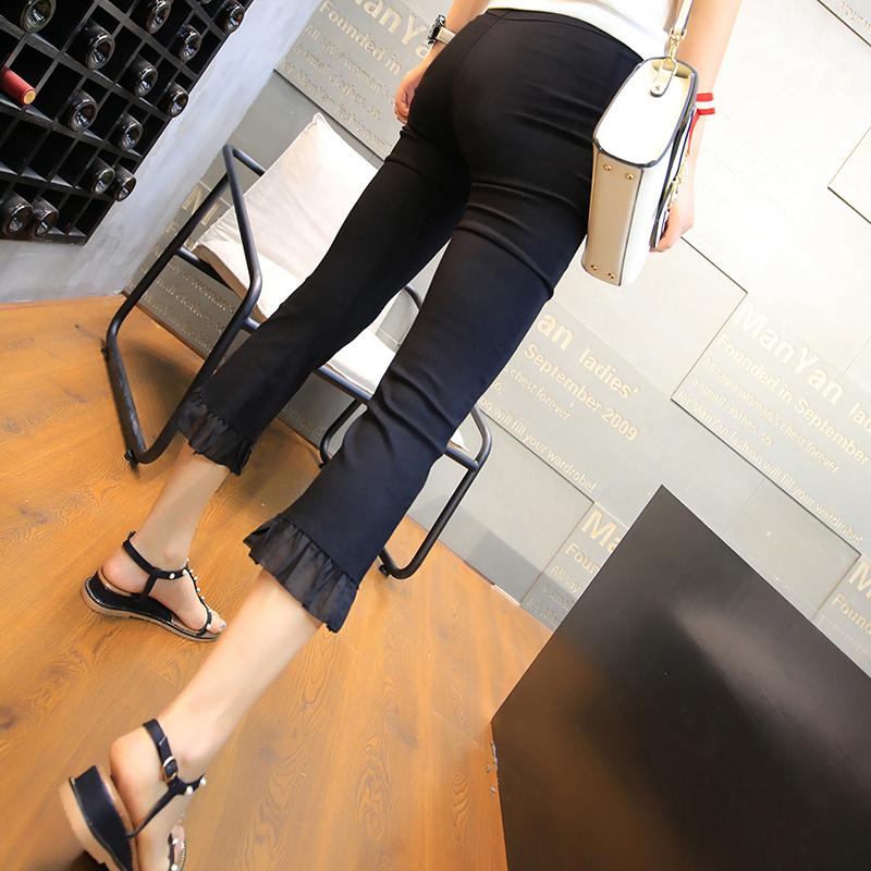 Tide brand Capri Pants womens summer thin ice silk small pants womens nine point Chiffon Ruffle stitched micro La womens pants