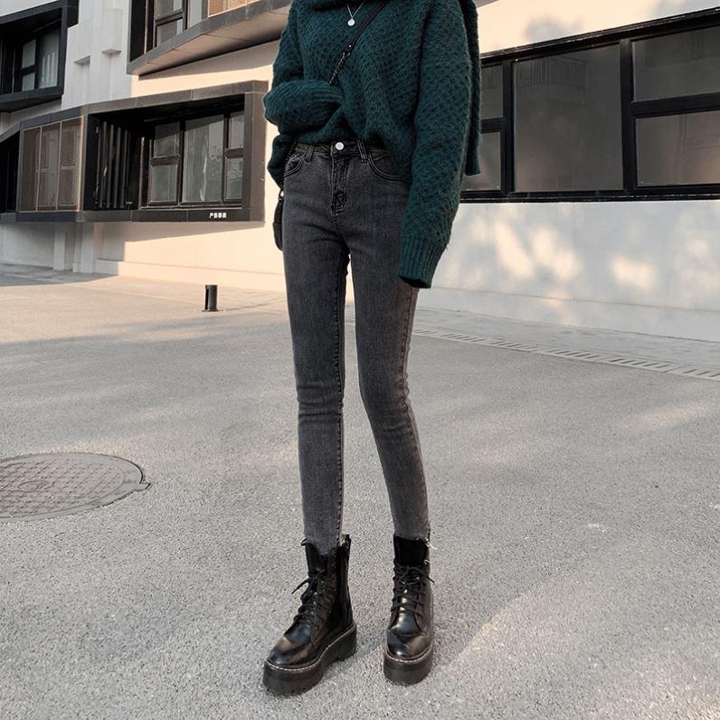 小脚铅笔牛仔裤女矮个子加厚美腿水洗女式薄绒锥形裤修身柔软时尚