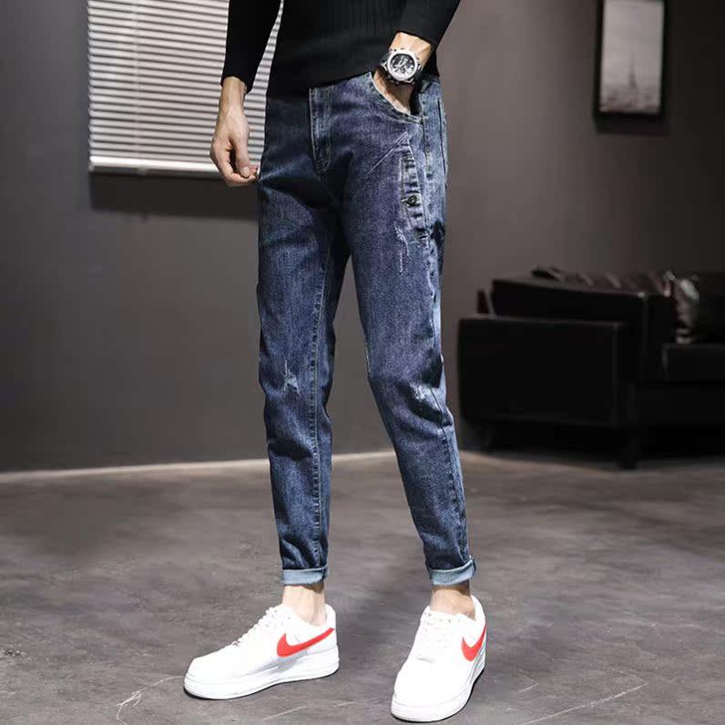 低腰冬季时髦加大码简约款韩版修身款时尚青年修身牛仔裤男大气