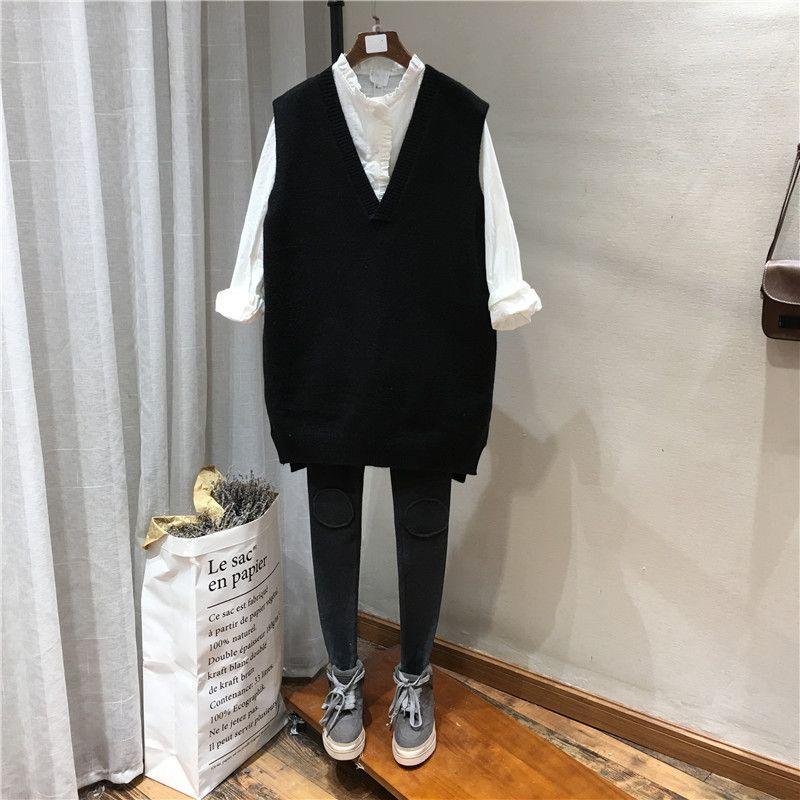 早秋季新品2018欧美风宽松显瘦V领纯色光板背心裙毛衣马夹女装770