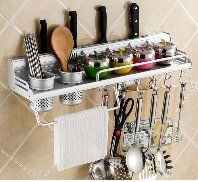 长方形太空铝架刀架厨房置物架调味料经济型挂壁式锅盖碗碟金属家