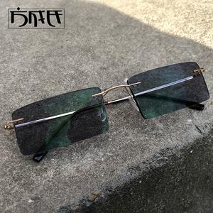 锋刃沈西林无框钛合金近视墨镜太阳镜变色镜方形眼镜架眼镜框男女