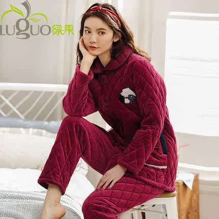 秋冬季夹棉睡衣女冬珊瑚绒三层加厚加绒保暖法兰绒家居服棉袄套装