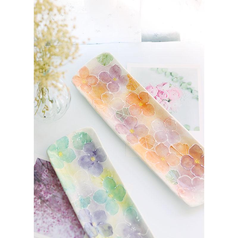 日本限定濑户烧繁花手绘手工彩绘釉下彩料理盘寿司盘长方盘子圆盘