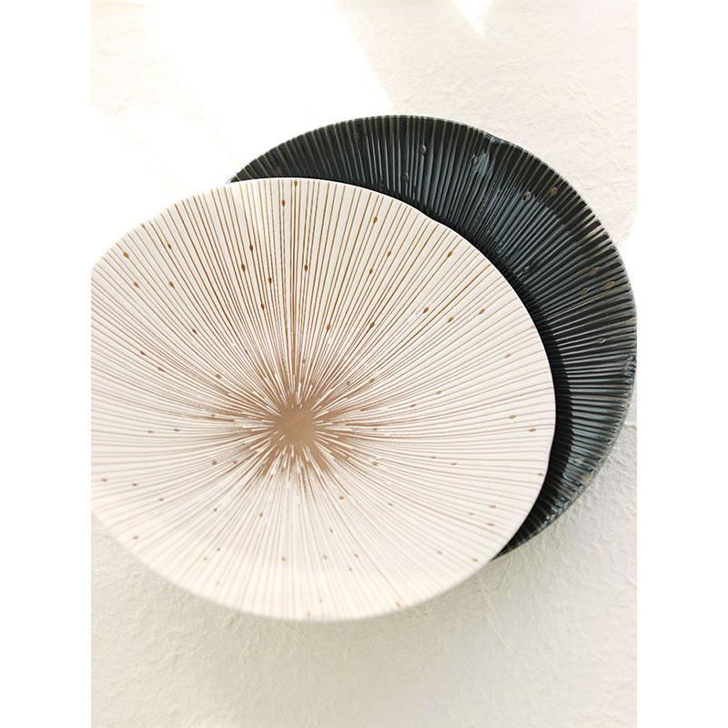 包邮促销清仓日本进口美浓烧珠露千十草花型日式料理大盘子22厘米
