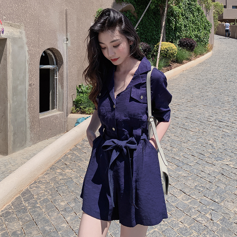 2020 casual fashion temperament Korean dress summer comfortable solid color elegant wide leg one-piece shorts womens trend