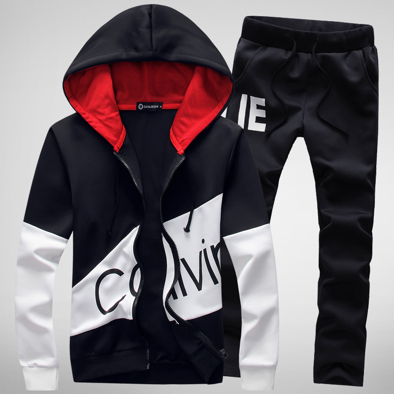 2019 new cardigan hooded mens spring sweater suit mens Korean slim letter print sports suit