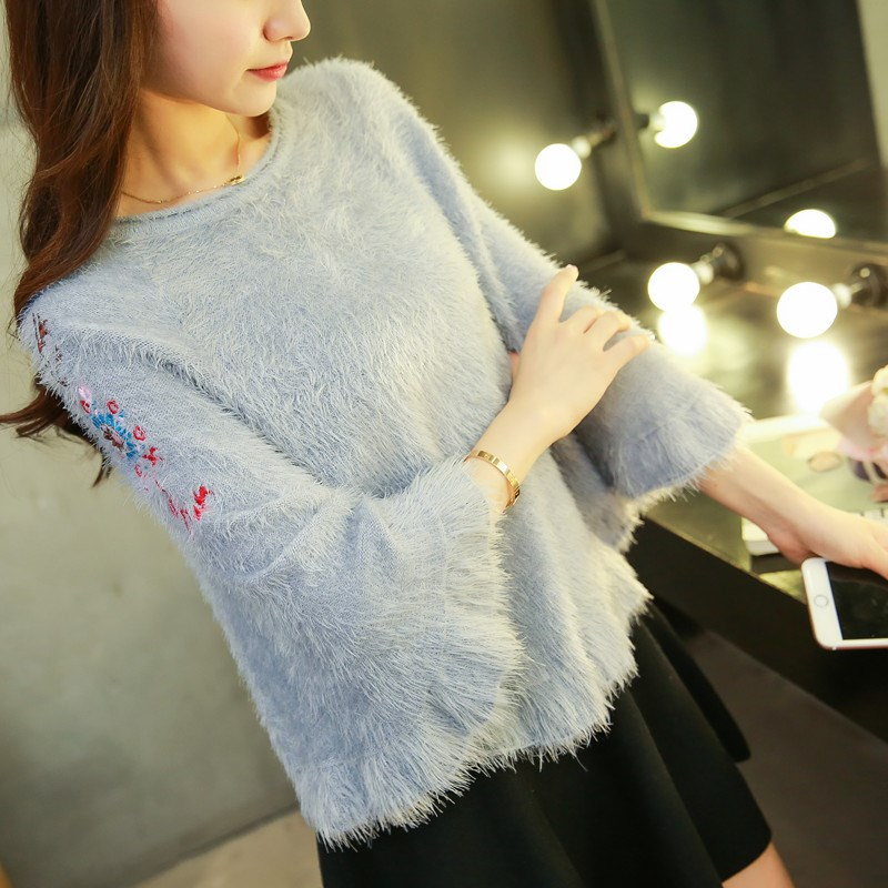 Spring and Autumn New Korean imitation sable embroidery large round neck knitwear Pullover short sweater womens cape coat