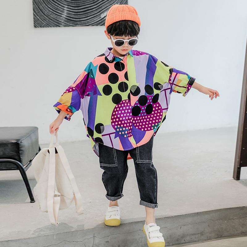 男童薄款2020新款儿童棉麻花潮衬衫