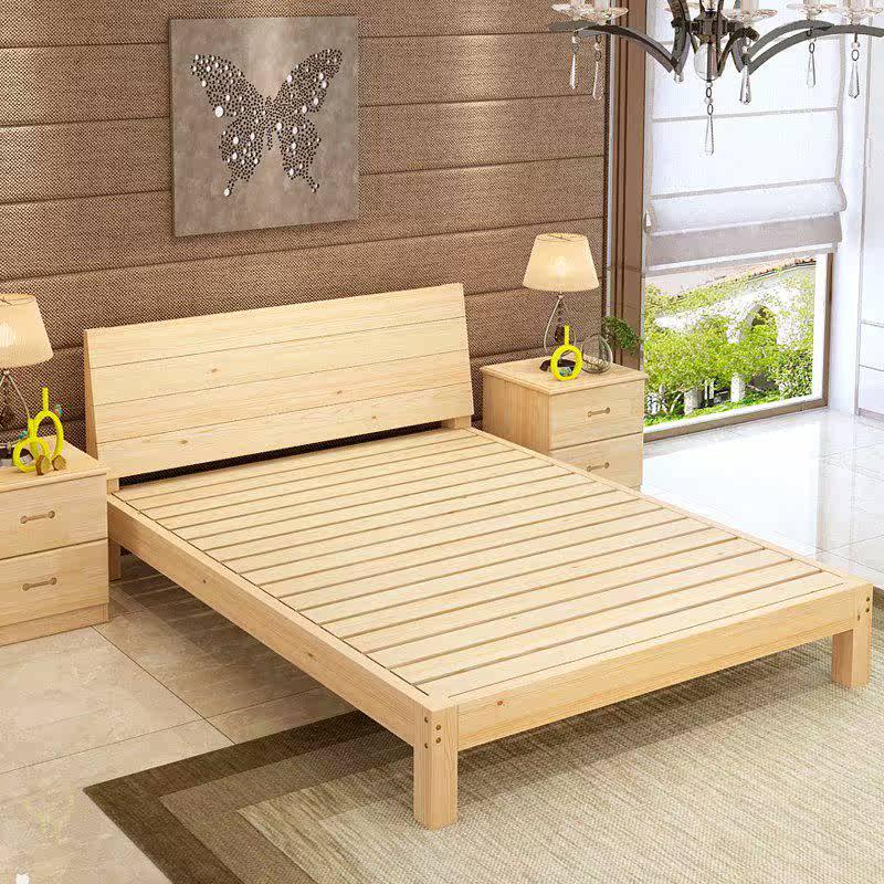 简易实木双人床1.8米1.5米儿童床1米单人床1.2木床经济型现代简约,可领取元淘宝优惠券
