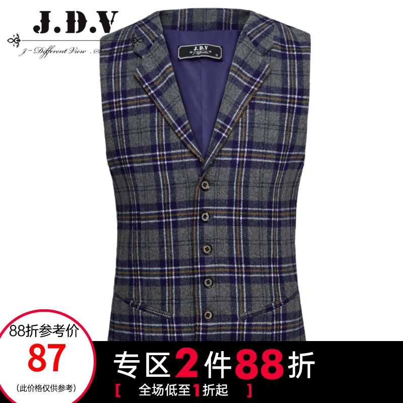 【商场同款】JDV男装 冬新品 男装复古格子拼接毛呢休闲马甲
