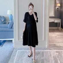 孕妇装纯色显瘦连衣裙2020新款宽松时尚气质夏装韩版中长款裙子潮