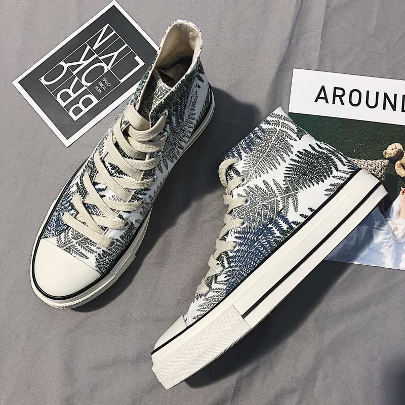 Printed high top canvas shoes mens Coconut pattern spring and autumn breathable Hong Kong Wind institute all kinds of leaves low top board shoes men