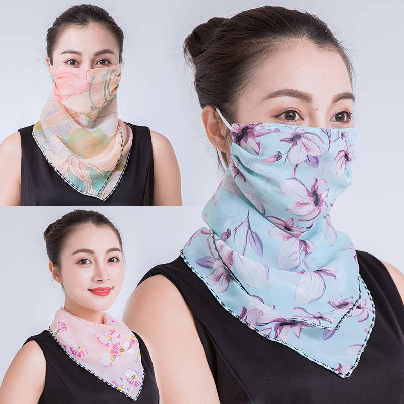 Sunscreen triangle silk scarf neck and neck mask womens summer ear scarf thin cycling mask