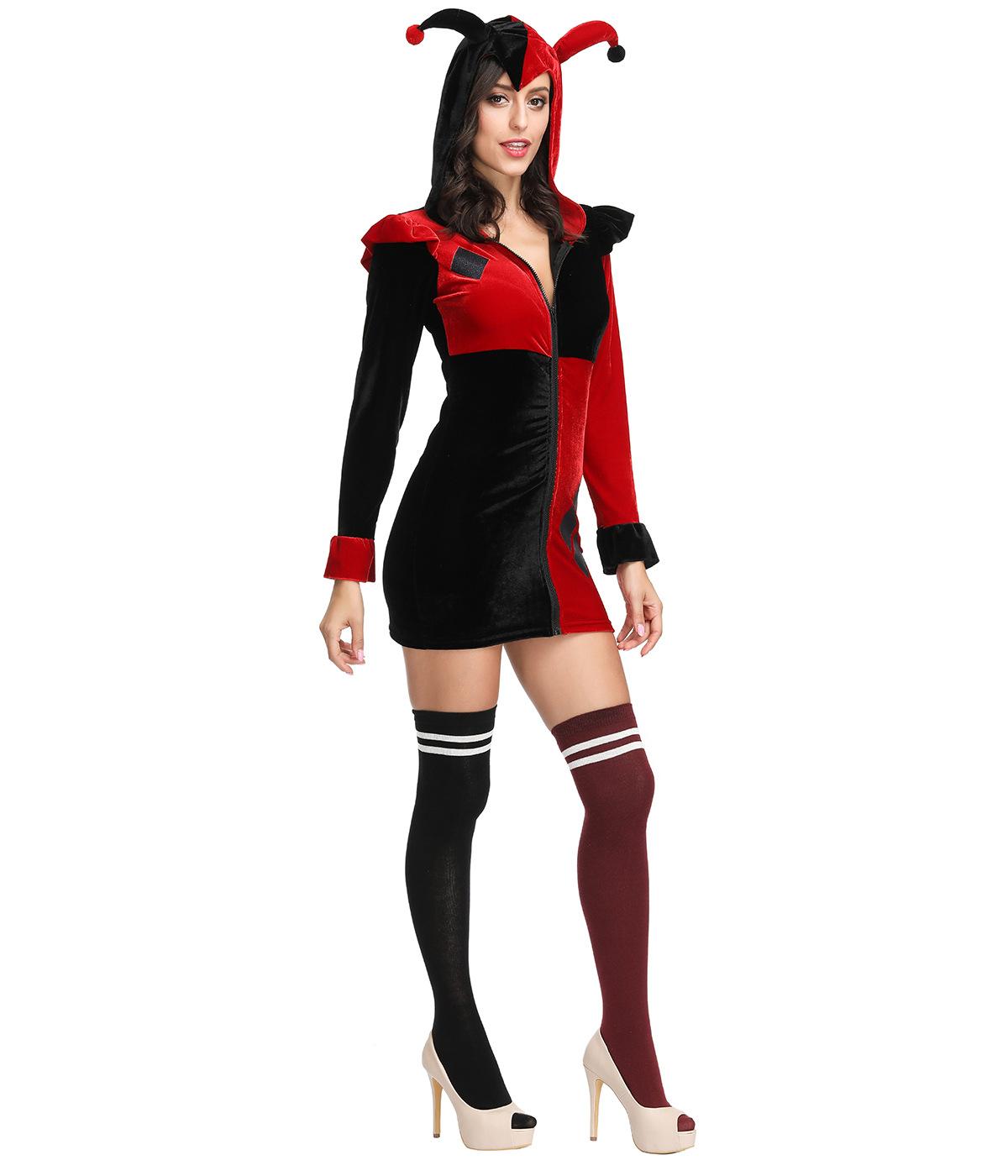 马戏团小丑角色扮演套装新款万圣节哈雷奎恩的服装红黑连衣裙