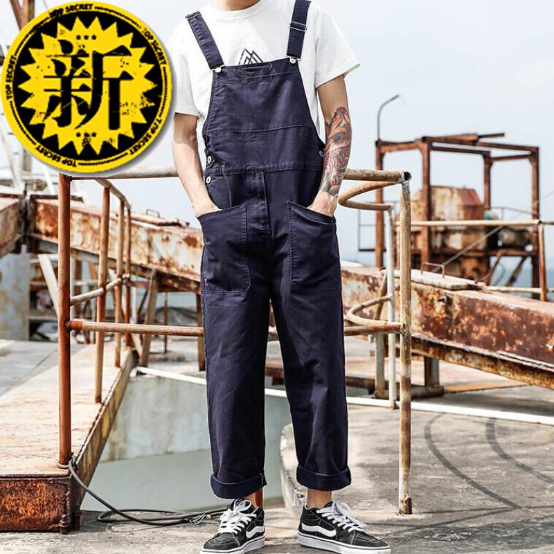 American style retro j-body casual pants mens large pocket work clothes suspenders mens and womens Korean version of one piece pants
